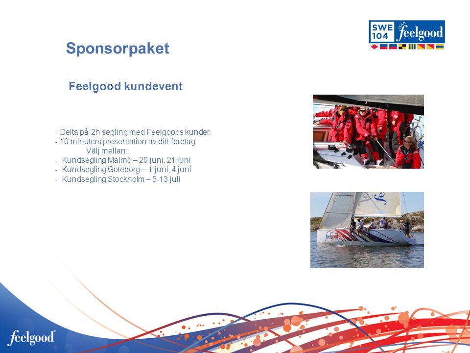Sponsorpaket - Delta på 2h segling med Feelgoods kunder - 10 minuters presentation av ditt företag Välj mellan: - Kundsegling Malmö – 20 juni, 21 juni