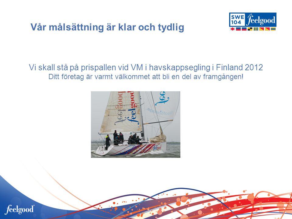 Vår målsättning är klar och tydlig Vi skall stå på prispallen vid VM i havskappsegling i Finland 2012 Ditt företag är varmt välkommet att bli en del a
