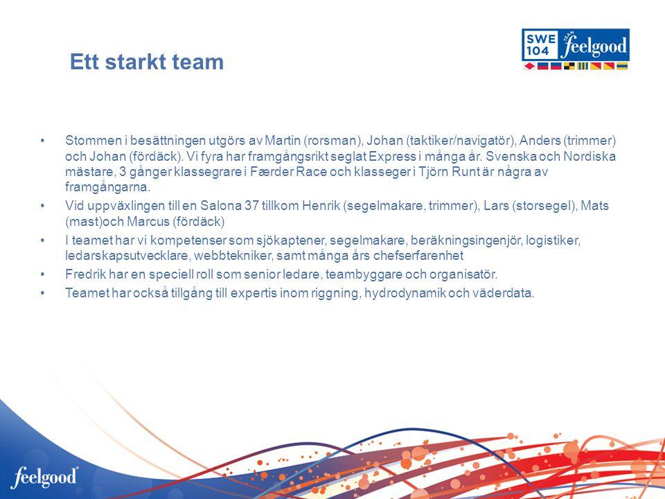 Ett starkt team •Stommen i besättningen utgörs av Martin (rorsman), Johan (taktiker/navigatör), Anders (trimmer) och Johan (fördäck). Vi fyra har fram