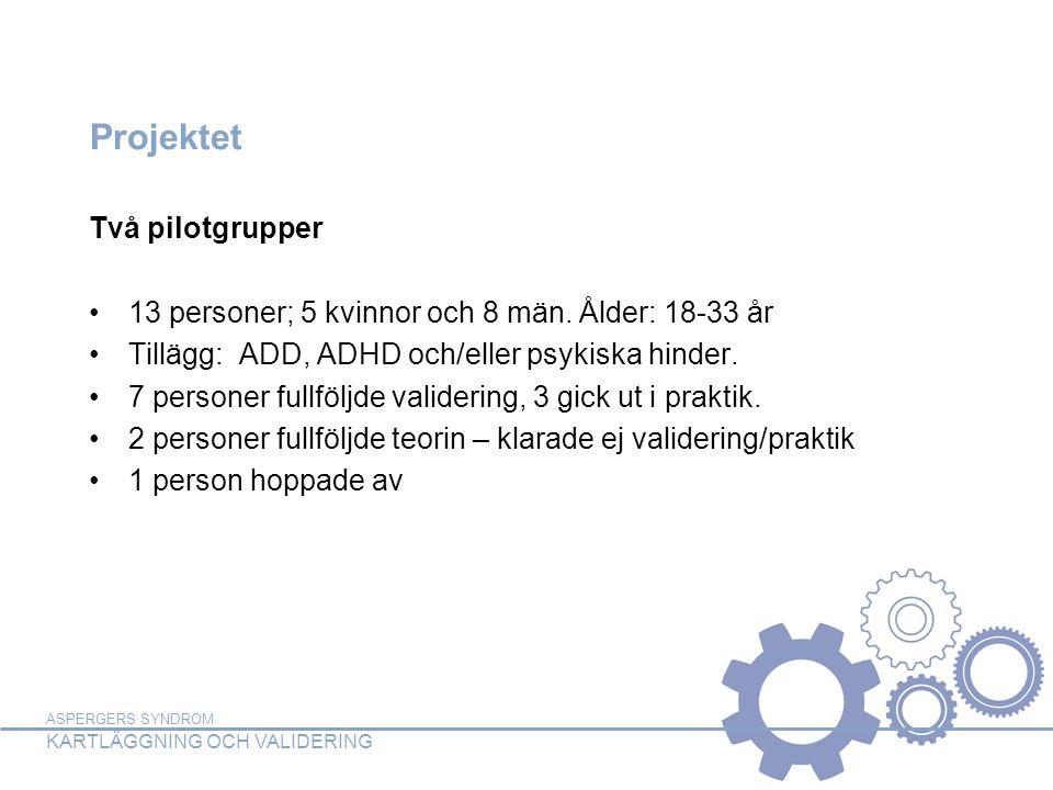 ASPERGERS SYNDROM KARTLÄGGNING OCH VALIDERING Projektet Två pilotgrupper •13 personer; 5 kvinnor och 8 män. Ålder: 18-33 år •Tillägg: ADD, ADHD och/el