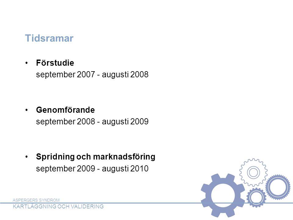 ASPERGERS SYNDROM KARTLÄGGNING OCH VALIDERING Tidsramar •Förstudie september 2007 - augusti 2008 •Genomförande september 2008 - augusti 2009 •Spridnin