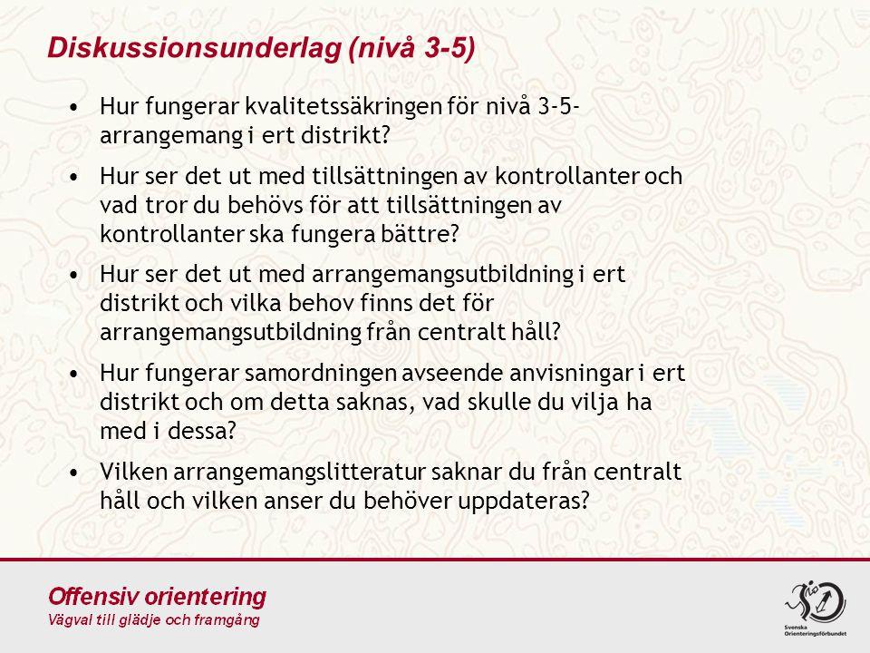 Diskussionsunderlag (nivå 3-5) •Hur fungerar kvalitetssäkringen för nivå 3-5- arrangemang i ert distrikt.