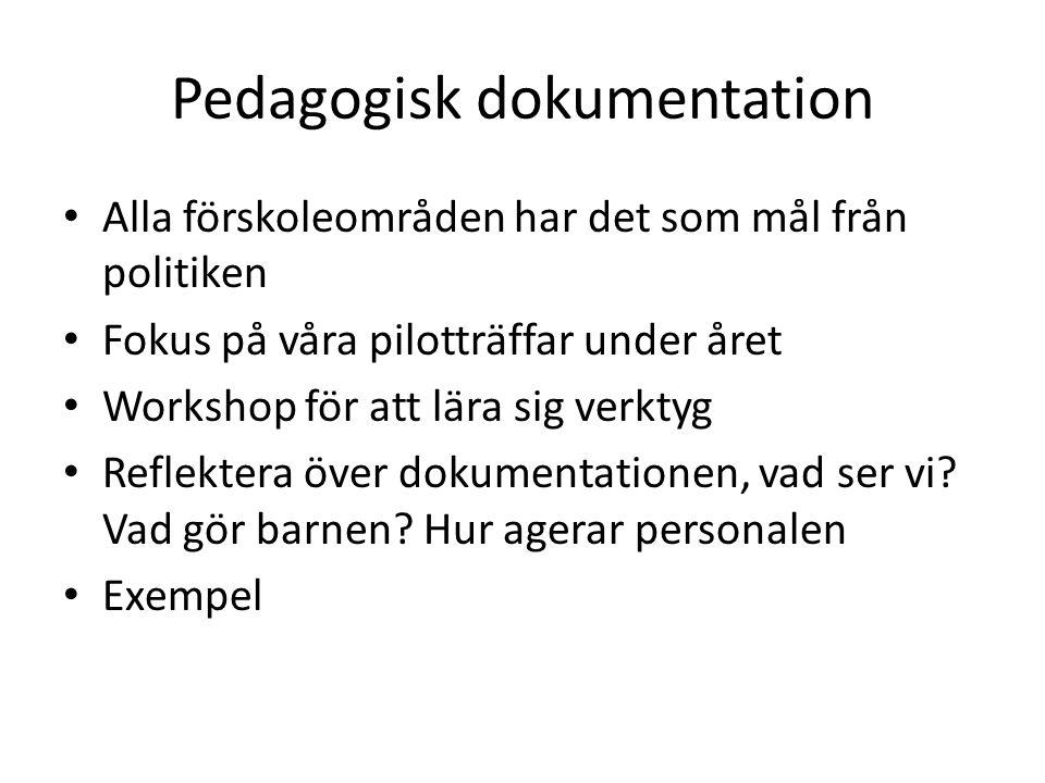 Pedagogisk dokumentation • Alla förskoleområden har det som mål från politiken • Fokus på våra pilotträffar under året • Workshop för att lära sig verktyg • Reflektera över dokumentationen, vad ser vi.