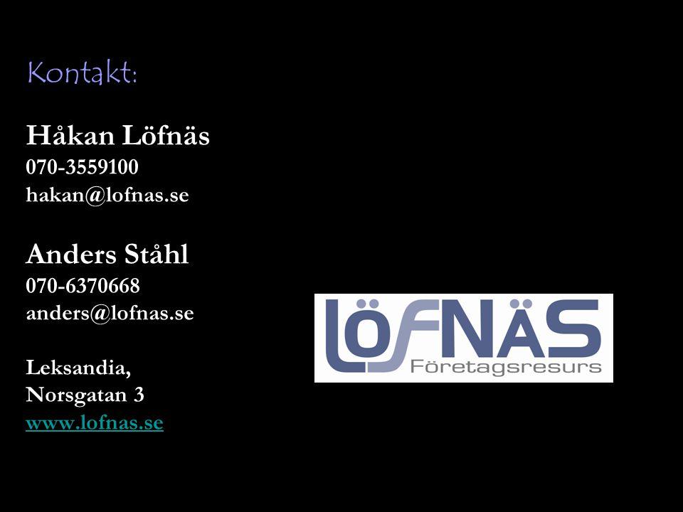 Håkan Löfnäs 070-3559100 hakan@lofnas.se Anders Ståhl 070-6370668 anders@lofnas.se Leksandia, Norsgatan 3 www.lofnas.se Kontakt:
