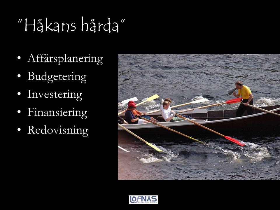 """""""Håkans hårda"""" •Affärsplanering •Budgetering •Investering •Finansiering •Redovisning"""