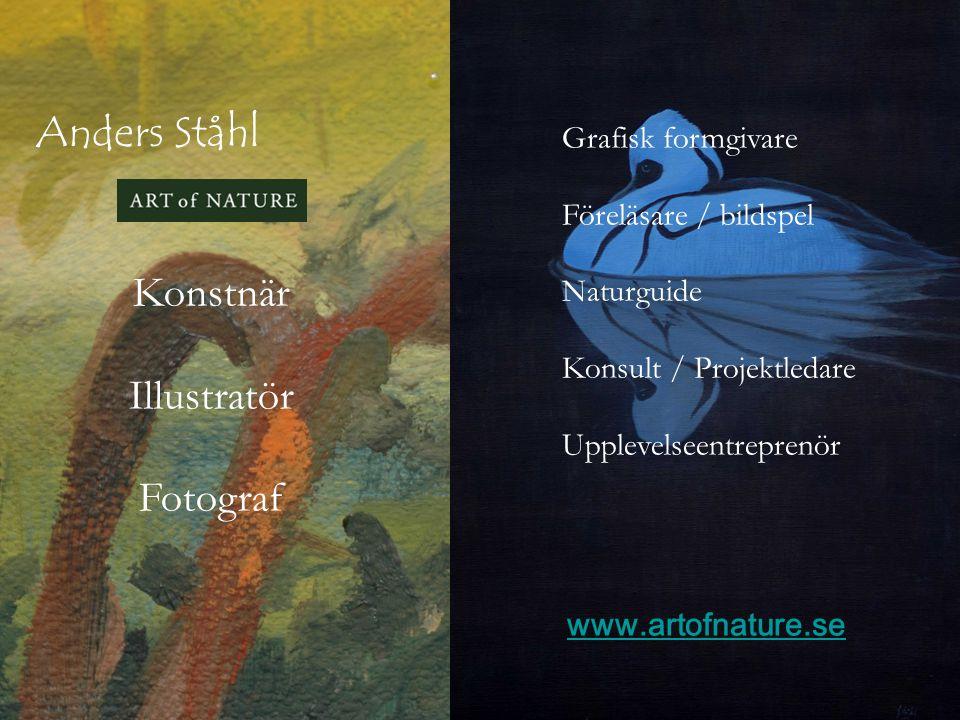 Anders Ståhl Grafisk formgivare Föreläsare / bildspel Naturguide Konsult / Projektledare Upplevelseentreprenör Konstnär Illustratör Fotograf www.artof
