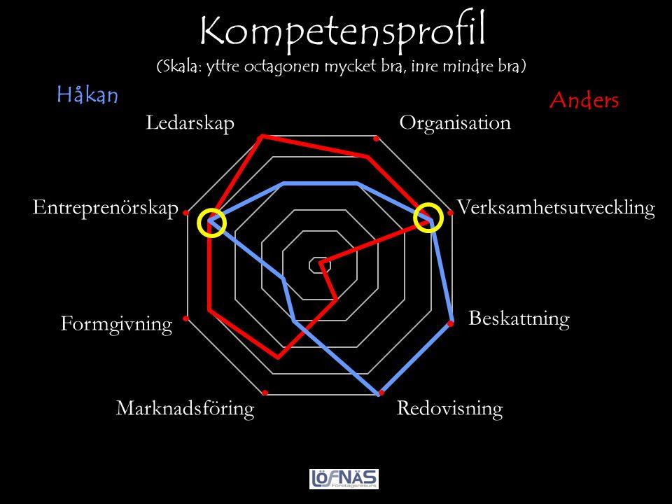 Kompetensprofil (Skala: yttre octagonen mycket bra, inre mindre bra) Bäst Organisation VerksamhetsutvecklingEntreprenörskap Redovisning Beskattning Fo