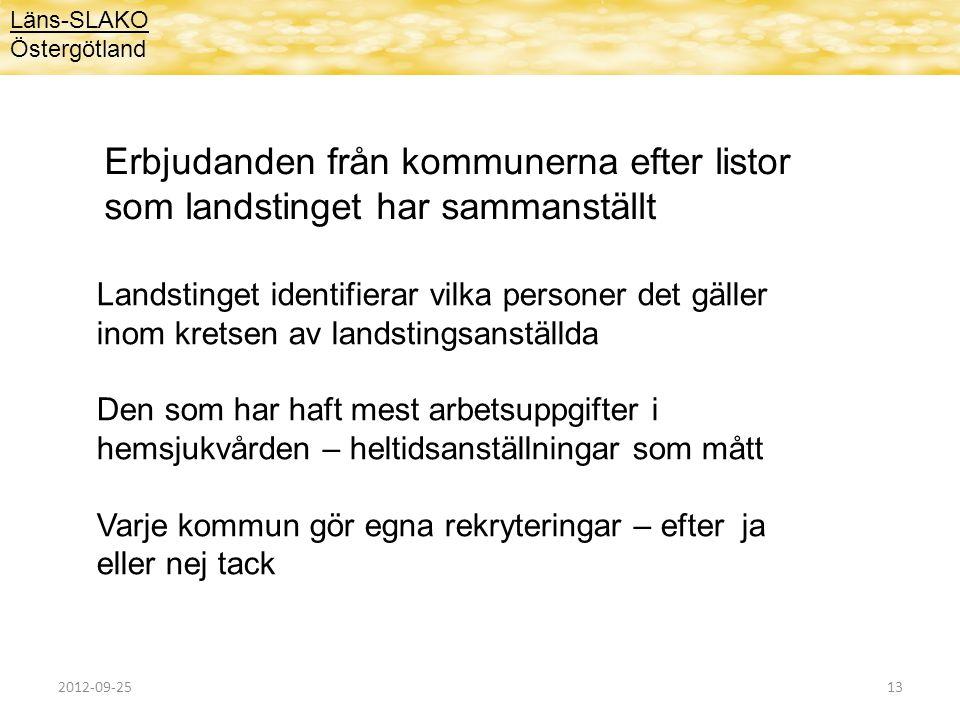Läns-SLAKO Östergötland Erbjudanden från kommunerna efter listor som landstinget har sammanställt Landstinget identifierar vilka personer det gäller i