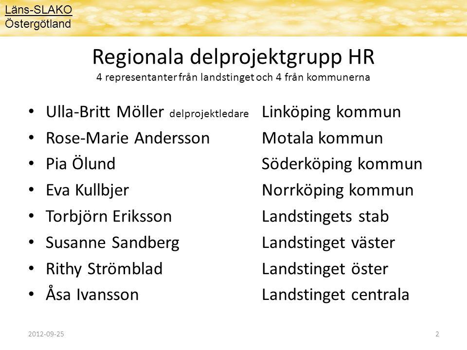 Utmaningar inom HR området  Organisering och ledning av den utökade kommunala hälso- och sjukvården  Lyckas att attrahera, rekrytera och behålla medarbetare  Tillräcklig och hög kompetens inom HSL-området  Kompetensförsörjning – gemensam angelägenhet för länet  Gemensamt utvecklingsarbete mellan landstinget - kommuner och inom kommunerna – bla forskning Läns-SLAKO Östergötland 2012-09-253