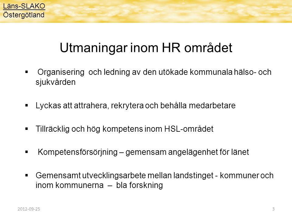 Utmaningar inom HR området  Organisering och ledning av den utökade kommunala hälso- och sjukvården  Lyckas att attrahera, rekrytera och behålla med