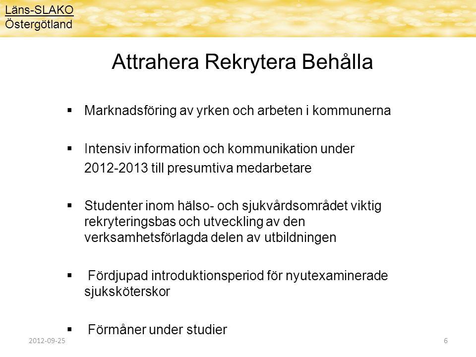 Attrahera Rekrytera Behålla  Marknadsföring av yrken och arbeten i kommunerna  Intensiv information och kommunikation under 2012-2013 till presumtiv