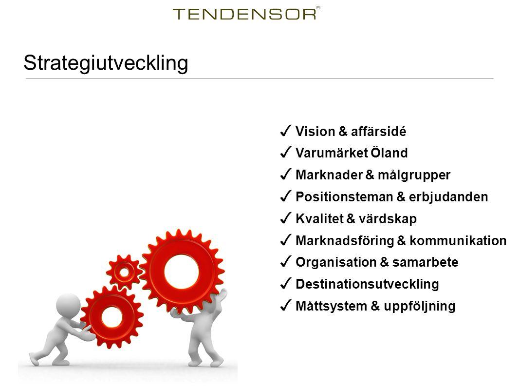 Strategiutveckling ✓ Vision & affärsidé ✓ Varumärket Öland ✓ Marknader & målgrupper ✓ Positionsteman & erbjudanden ✓ Kvalitet & värdskap ✓ Marknadsföring & kommunikation ✓ Organisation & samarbete ✓ Destinationsutveckling ✓ Måttsystem & uppföljning