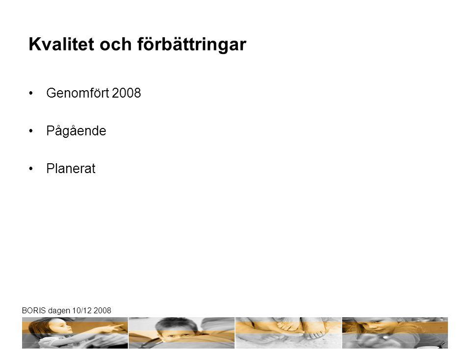 BORIS dagen 10/12 2008 Kvalitet och förbättringar •Genomfört 2008 •Pågående •Planerat