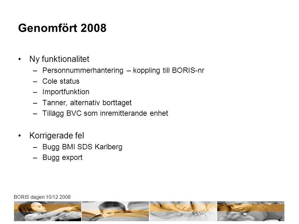 BORIS dagen 10/12 2008 Genomfört 2008 •Ny funktionalitet –Personnummerhantering – koppling till BORIS-nr –Cole status –Importfunktion –Tanner, alternativ borttaget –Tillägg BVC som inremitterande enhet •Korrigerade fel –Bugg BMI SDS Karlberg –Bugg export