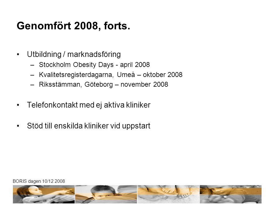 BORIS dagen 10/12 2008 Genomfört 2008, forts. •Utbildning / marknadsföring –Stockholm Obesity Days - april 2008 –Kvalitetsregisterdagarna, Umeå – okto