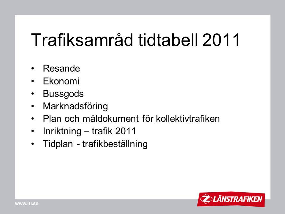 Trafiksamråd tidtabell 2011 •Resande •Ekonomi •Bussgods •Marknadsföring •Plan och måldokument för kollektivtrafiken •Inriktning – trafik 2011 •Tidplan