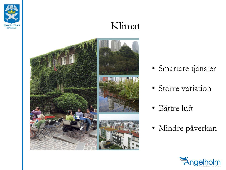 Klimat •Smartare tjänster •Större variation •Bättre luft •Mindre påverkan