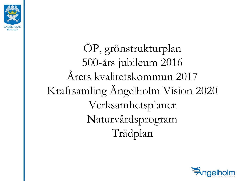 ÖP, grönstrukturplan 500-års jubileum 2016 Årets kvalitetskommun 2017 Kraftsamling Ängelholm Vision 2020 Verksamhetsplaner Naturvårdsprogram Trädplan