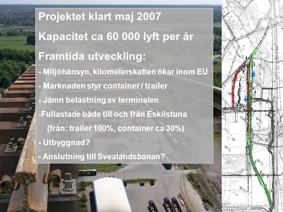 Projektet klart maj 2007 Kapacitet ca 60 000 lyft per år Framtida utveckling: - Miljöhänsyn, kilometerskatten ökar inom EU - Marknaden styr container / trailer - Jämn belastning av terminalen -Fullastade både till och från Eskilstuna (från: trailer 100%, container ca 30%) - Utbyggnad.