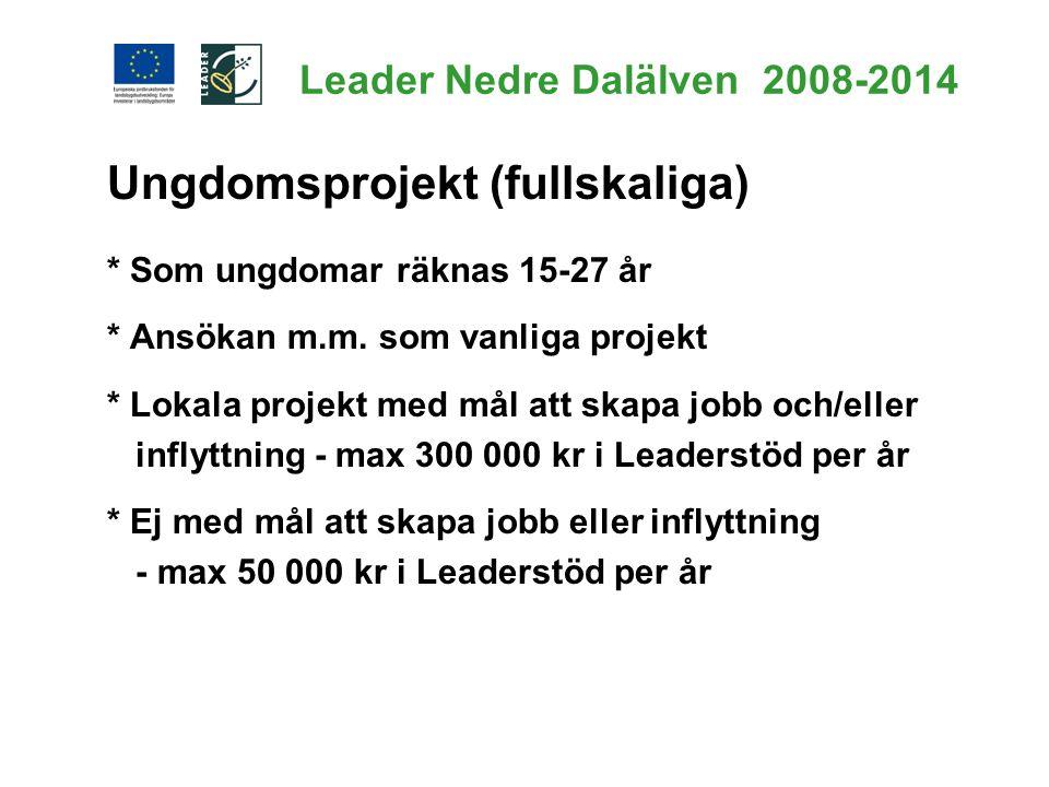 Leader Nedre Dalälven 2008-2014 Ungdomsprojekt (fullskaliga) * Som ungdomar räknas 15-27 år * Ansökan m.m. som vanliga projekt * Lokala projekt med må