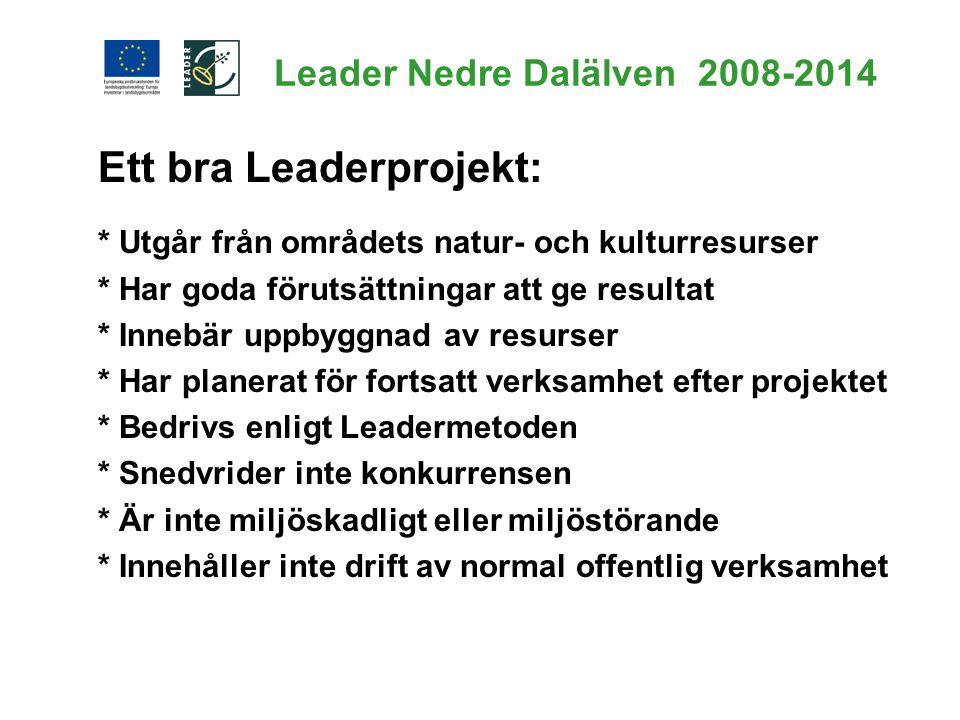 Ett bra Leaderprojekt: * Utgår från områdets natur- och kulturresurser * Har goda förutsättningar att ge resultat * Innebär uppbyggnad av resurser * H