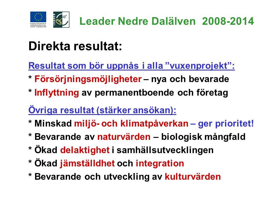 """Leader Nedre Dalälven 2008-2014 Direkta resultat: Resultat som bör uppnås i alla """"vuxenprojekt"""": * Försörjningsmöjligheter – nya och bevarade * Inflyt"""