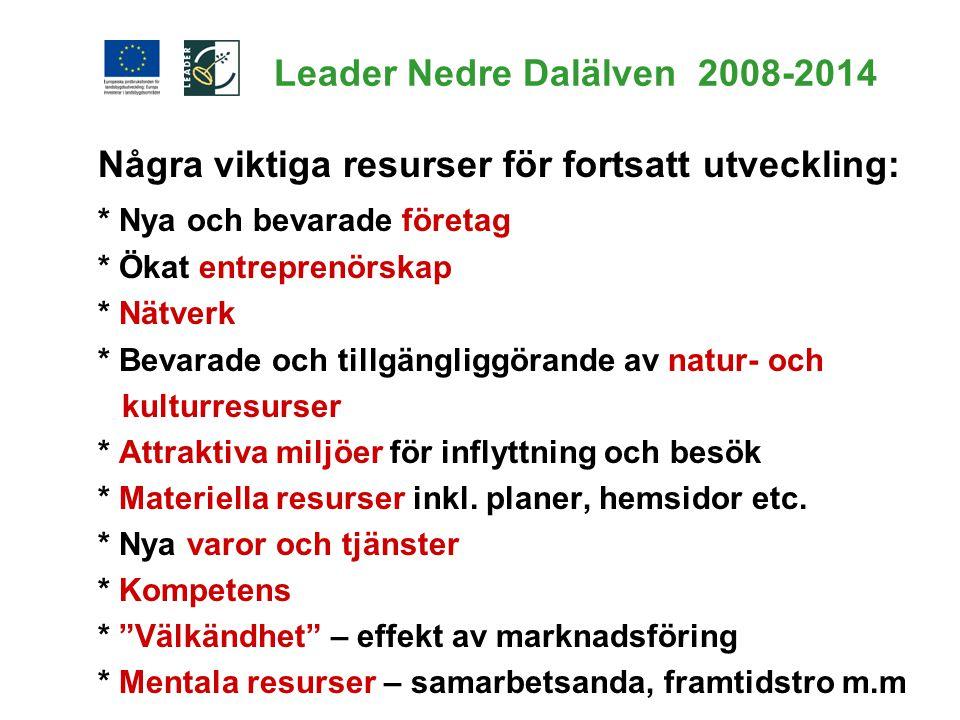 Leader Nedre Dalälven 2008-2014 Några viktiga resurser för fortsatt utveckling: * Nya och bevarade företag * Ökat entreprenörskap * Nätverk * Bevarade