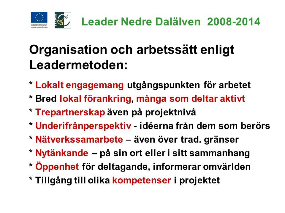 Leader Nedre Dalälven 2008-2014 Organisation och arbetssätt enligt Leadermetoden: * Lokalt engagemang utgångspunkten för arbetet * Bred lokal förankri