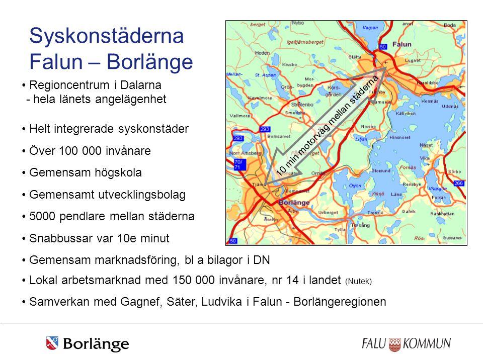Syskonstäderna Falun – Borlänge • Regioncentrum i Dalarna • Helt integrerade syskonstäder • Över 100 000 invånare • Gemensam högskola • Gemensamt utve
