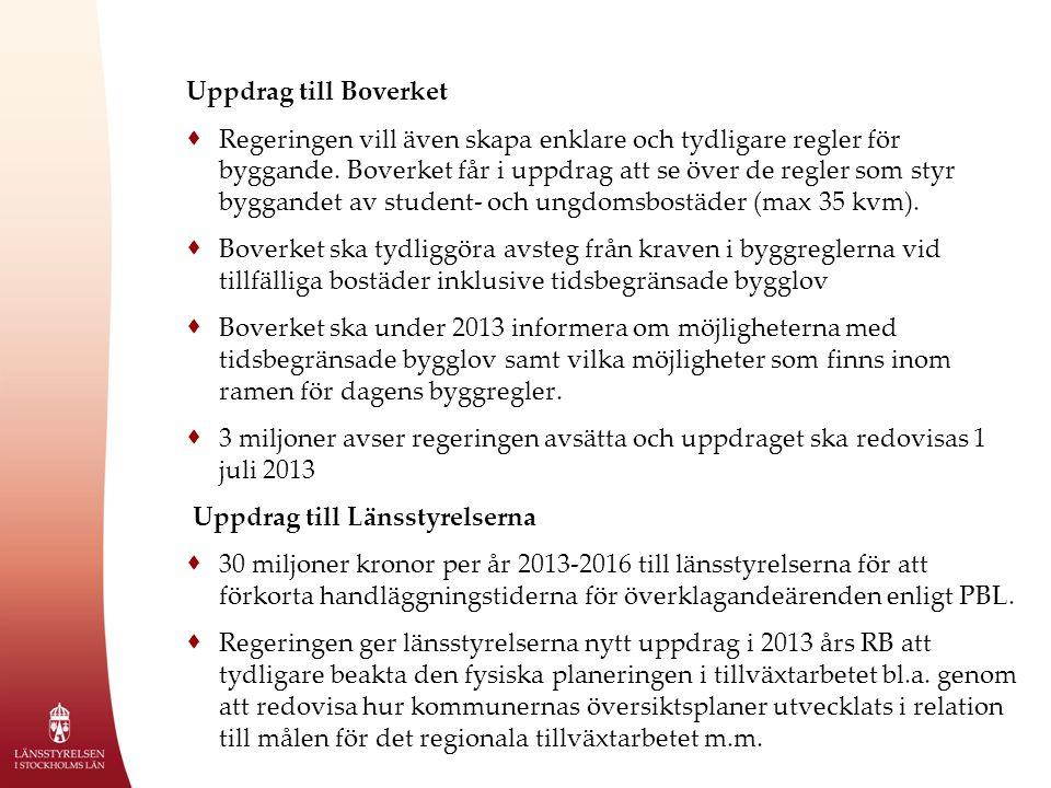 Uppdrag till Boverket  Regeringen vill även skapa enklare och tydligare regler för byggande.