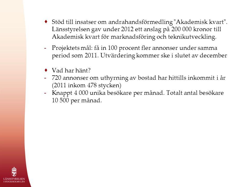  Stöd till insatser om andrahandsförmedling Akademisk kvart .