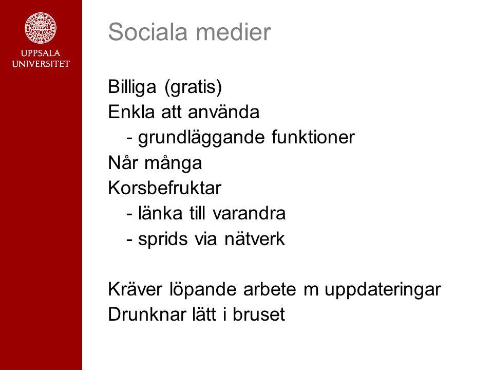 Sociala medier Billiga (gratis) Enkla att använda - grundläggande funktioner Når många Korsbefruktar - länka till varandra - sprids via nätverk Kräver löpande arbete m uppdateringar Drunknar lätt i bruset