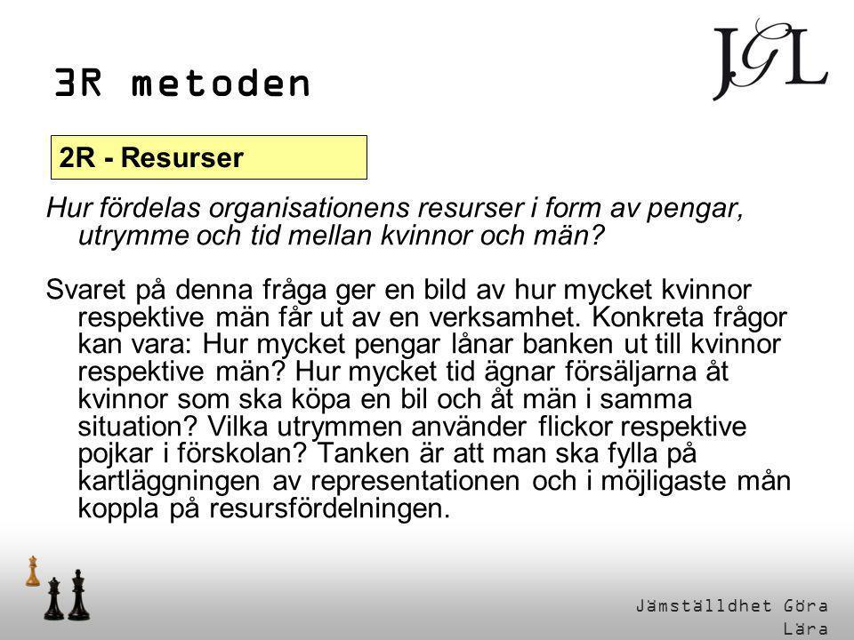 Jämställdhet Göra Lära 3R metoden Hur fördelas organisationens resurser i form av pengar, utrymme och tid mellan kvinnor och män? Svaret på denna fråg