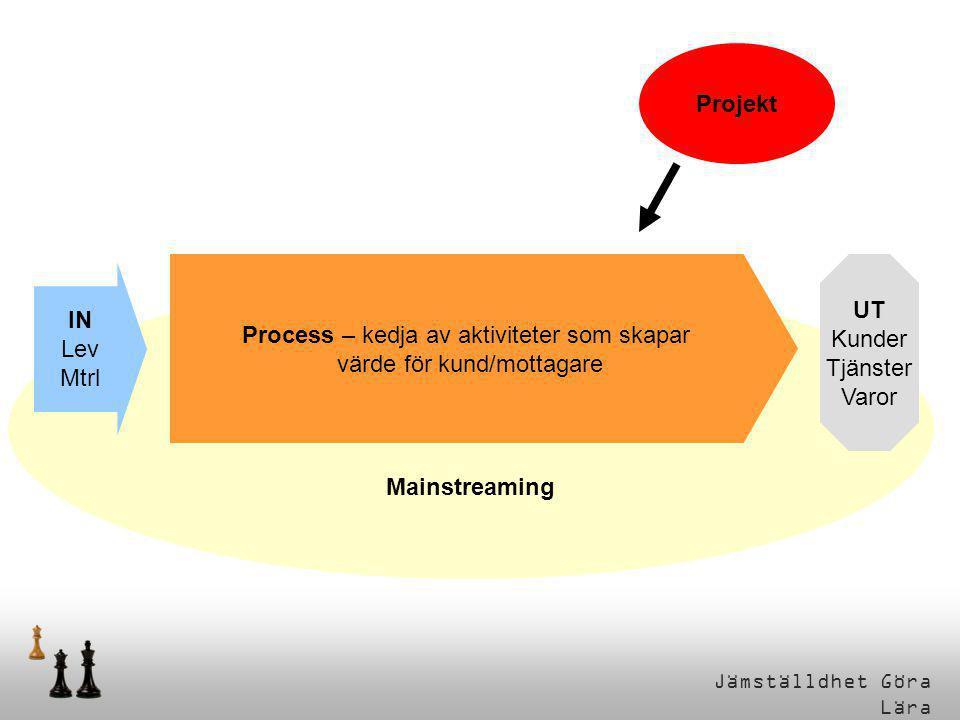 Jämställdhet Göra Lära Mainstreaming Process – kedja av aktiviteter som skapar värde för kund/mottagare IN Lev Mtrl UT Kunder Tjänster Varor Projekt