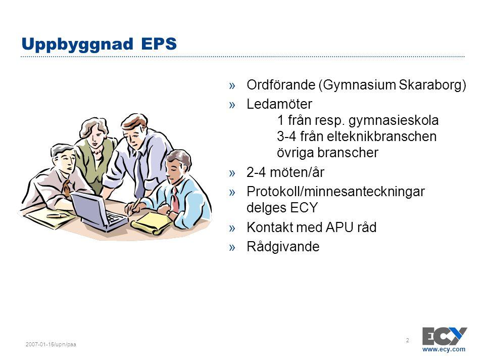 www.ecy.com 2007-01-15/upn/paa 2 Uppbyggnad EPS »Ordförande (Gymnasium Skaraborg) »Ledamöter 1 från resp. gymnasieskola 3-4 från elteknikbranschen övr