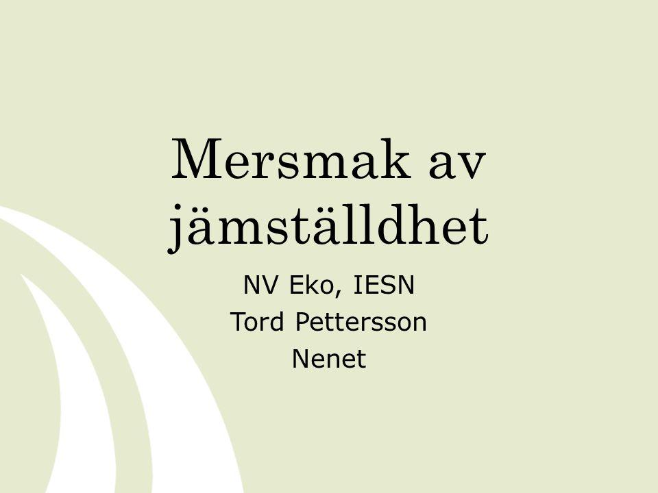 Mersmak av jämställdhet NV Eko, IESN Tord Pettersson Nenet