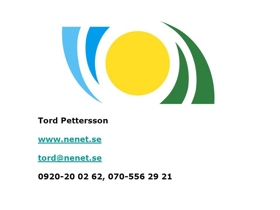 Tord Pettersson www.nenet.se tord@nenet.se 0920-20 02 62, 070-556 29 21