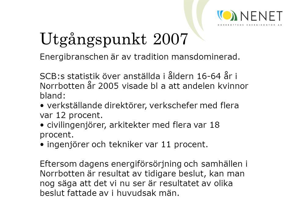Utgångspunkt 2007 Energibranschen är av tradition mansdominerad. SCB:s statistik över anställda i åldern 16-64 år i Norrbotten år 2005 visade bl a att