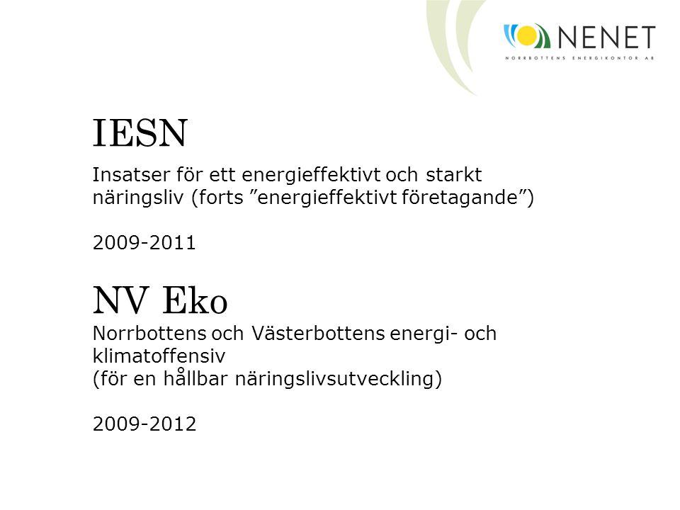 """IESN Insatser för ett energieffektivt och starkt näringsliv (forts """"energieffektivt företagande"""") 2009-2011 NV Eko Norrbottens och Västerbottens energ"""