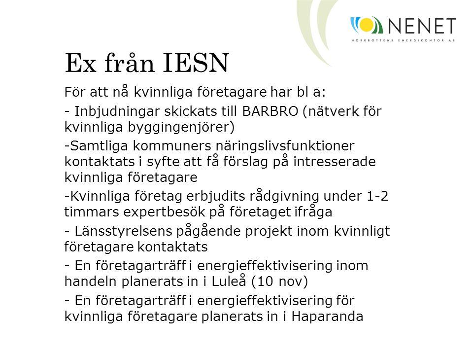 Ex från IESN För att nå kvinnliga företagare har bl a: - Inbjudningar skickats till BARBRO (nätverk för kvinnliga byggingenjörer) -Samtliga kommuners näringslivsfunktioner kontaktats i syfte att få förslag på intresserade kvinnliga företagare -Kvinnliga företag erbjudits rådgivning under 1-2 timmars expertbesök på företaget ifråga - Länsstyrelsens pågående projekt inom kvinnligt företagare kontaktats - En företagarträff i energieffektivisering inom handeln planerats in i Luleå (10 nov) - En företagarträff i energieffektivisering för kvinnliga företagare planerats in i Haparanda