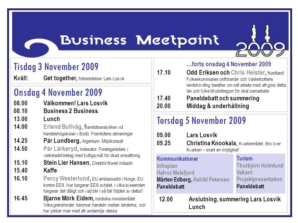 Tisdag 3 November 2009 Kväll:Get together, förberedelser Lars Losvik Onsdag 4 November 2009 08.00Välkommen! Lars Losvik 08.10Business 2 Business. 13.0