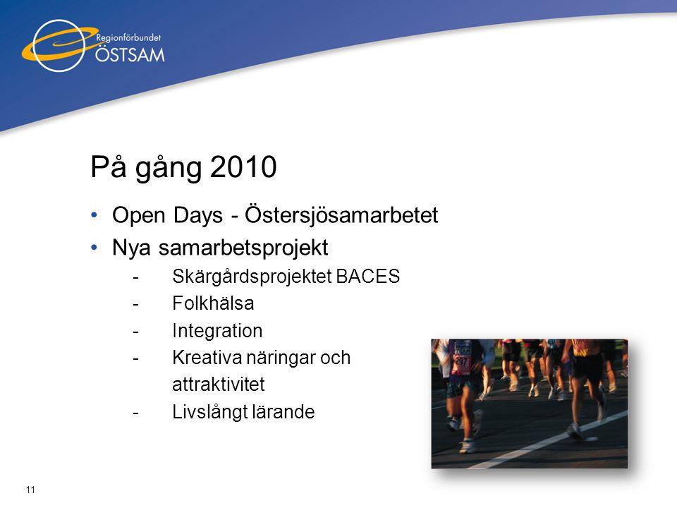 11 På gång 2010 •Open Days - Östersjösamarbetet •Nya samarbetsprojekt -Skärgårdsprojektet BACES -Folkhälsa -Integration -Kreativa näringar och attrakt