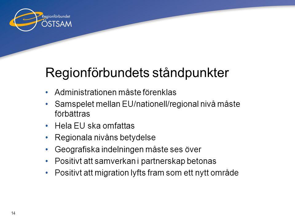 14 Regionförbundets ståndpunkter •Administrationen måste förenklas •Samspelet mellan EU/nationell/regional nivå måste förbättras •Hela EU ska omfattas