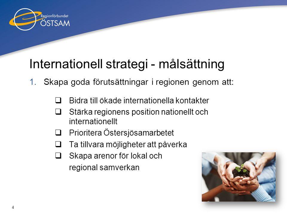4 Internationell strategi - målsättning 1.Skapa goda förutsättningar i regionen genom att:  Bidra till ökade internationella kontakter  Stärka regio
