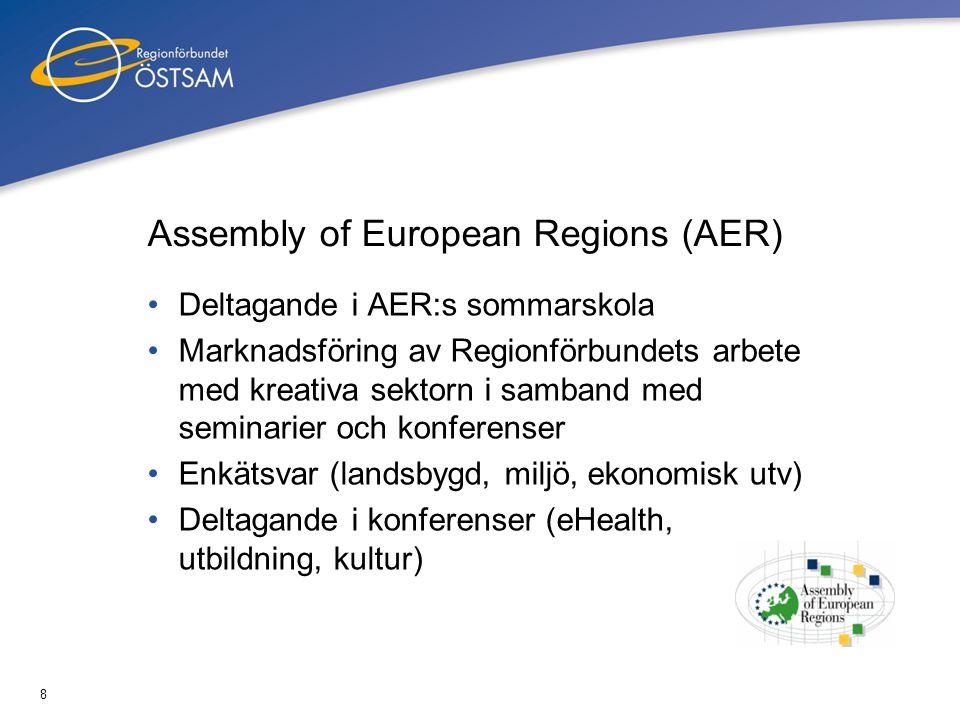 8 Assembly of European Regions (AER) •Deltagande i AER:s sommarskola •Marknadsföring av Regionförbundets arbete med kreativa sektorn i samband med sem