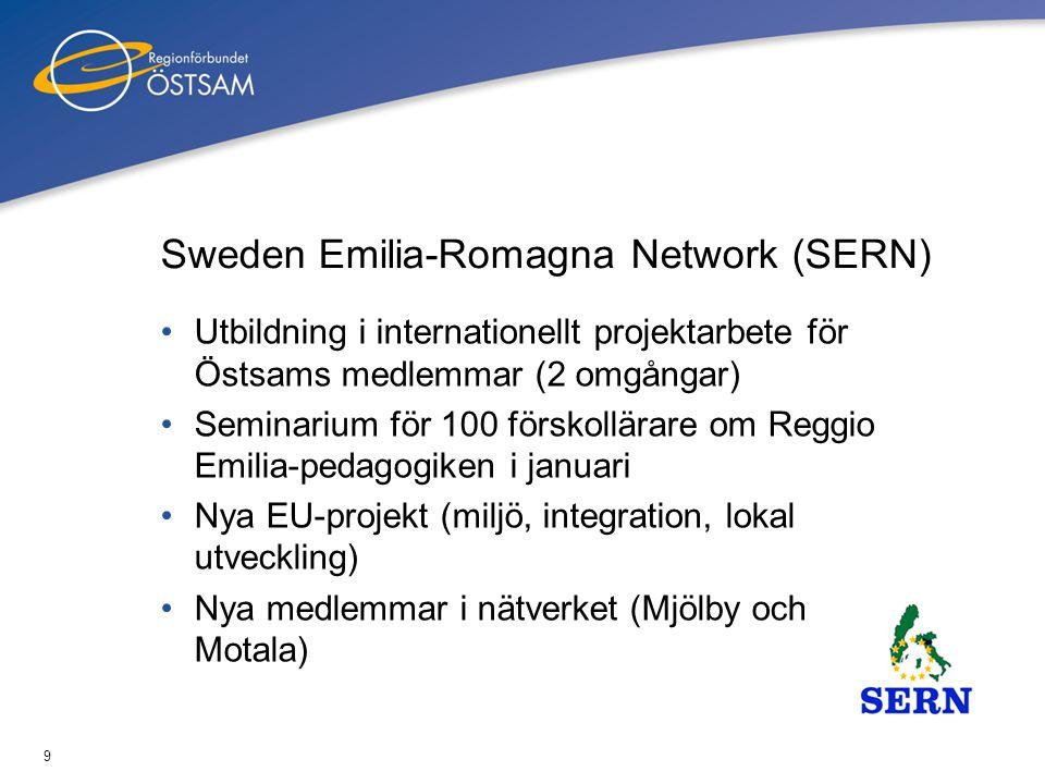 9 Sweden Emilia-Romagna Network (SERN) •Utbildning i internationellt projektarbete för Östsams medlemmar (2 omgångar) •Seminarium för 100 förskollärar