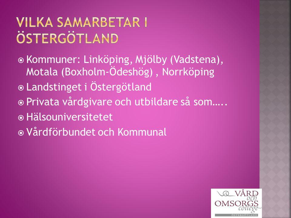  Kommuner: Linköping, Mjölby (Vadstena), Motala (Boxholm-Ödeshög), Norrköping  Landstinget i Östergötland  Privata vårdgivare och utbildare så som…..
