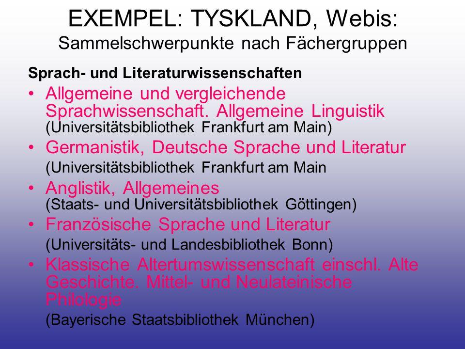 EXEMPEL: TYSKLAND, Webis: Sammelschwerpunkte nach Fächergruppen Sprach- und Literaturwissenschaften •Allgemeine und vergleichende Sprachwissenschaft.
