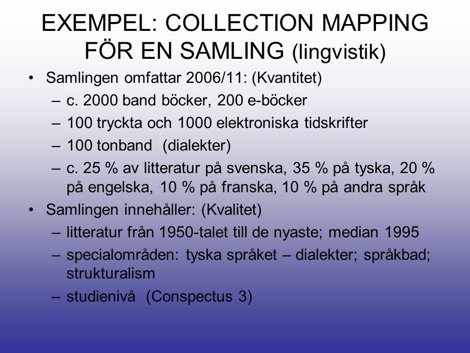 EXEMPEL: COLLECTION MAPPING FÖR EN SAMLING (lingvistik) •Samlingen omfattar 2006/11: (Kvantitet) –c.