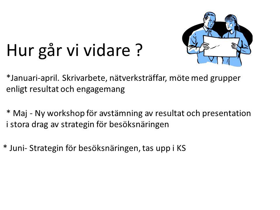 Hur går vi vidare ? *Januari-april. Skrivarbete, nätverksträffar, möte med grupper enligt resultat och engagemang * Maj - Ny workshop för avstämning a
